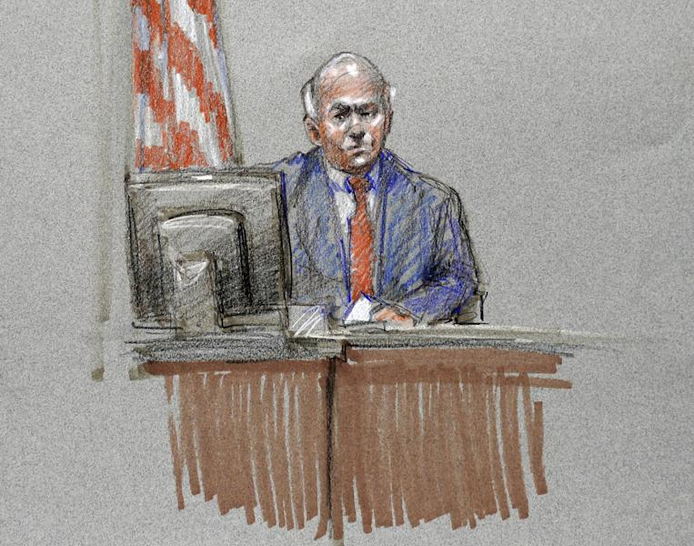 Philip Warman, husband of Lt. Col. Juanita Warman, who was killed in the Fort Hood shooting, is depicted in a courtroom sketch at the Lawrence William Judicial Center during the sentencing phase for Maj. Nidal Hasan, Tuesday, Aug. 27, 2013, in Fort Hood, Texas. Hasan was convicted of killing 13 of his unarmed comrades in the deadliest attack ever on a U.S. military base. (AP Photo/Brigitte Woosley)