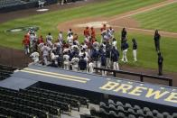 Both benches cleared during the fifth inning of a baseball game between the Milwaukee Brewers and the St. Louis Cardinals Tuesday, Sept. 15, 2020, in Milwaukee. (AP Photo/Morry Gash)