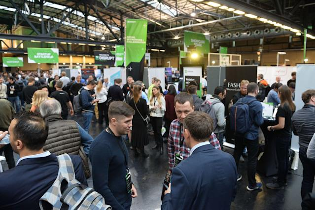 Startup founders mingle in Berlin at a TechCrunch Disrupt event, 12 December 2019. German startups raised a record €6.2bn in fresh capital last year. Photo: Noam Galai/Getty Images for TechCrunch