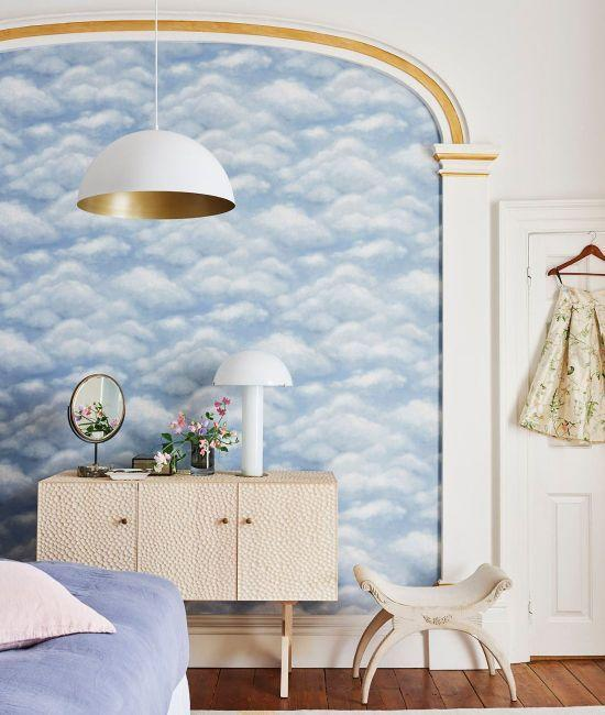 """<p>This Fresco Sky by Cole & Son uses chalky colours and soft, fluffy cloud details to depict a calming sky scape. Add a bit of whimsy by using the natural features in your home, such as alcoves or recessing in a wall, to create a dreamy faux window frame.</p><p>Pictured: <a href=""""https://www.limelace.co.uk/collections/cole-son/products/fresco-sky-wallpaper-great-masters-cole-son"""" rel=""""nofollow noopener"""" target=""""_blank"""" data-ylk=""""slk:Cole & Son Fresco Sky Wallpaper at Lime Lace"""" class=""""link rapid-noclick-resp"""">Cole & Son Fresco Sky Wallpaper at Lime Lace</a></p>"""