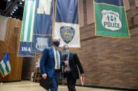 Manhattan district Attorney Cyrus Vance Jr. leaves after a news conference announcing charges against Brandon Elliot, following his arrest for attacking an elderly Asian woman, in New York