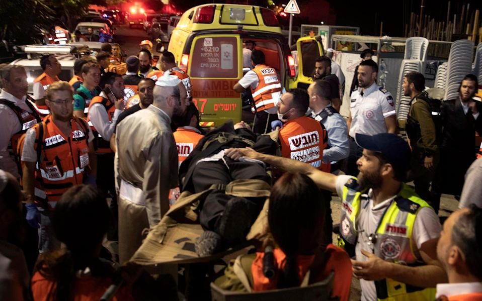 Israeli medics say more than 150 people were injured in a fatal collapse of a bleacher - AP