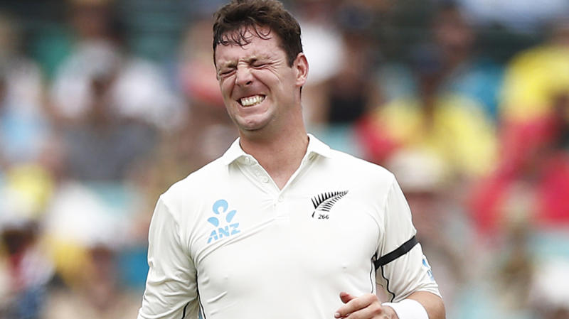 New Zealand bowler Matt Henry, pictured after breaking his thumb in the third Test against Australia.