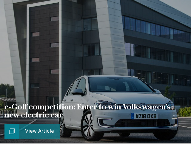 e-Golf competition: Enter to win Volkswagen's new electric car