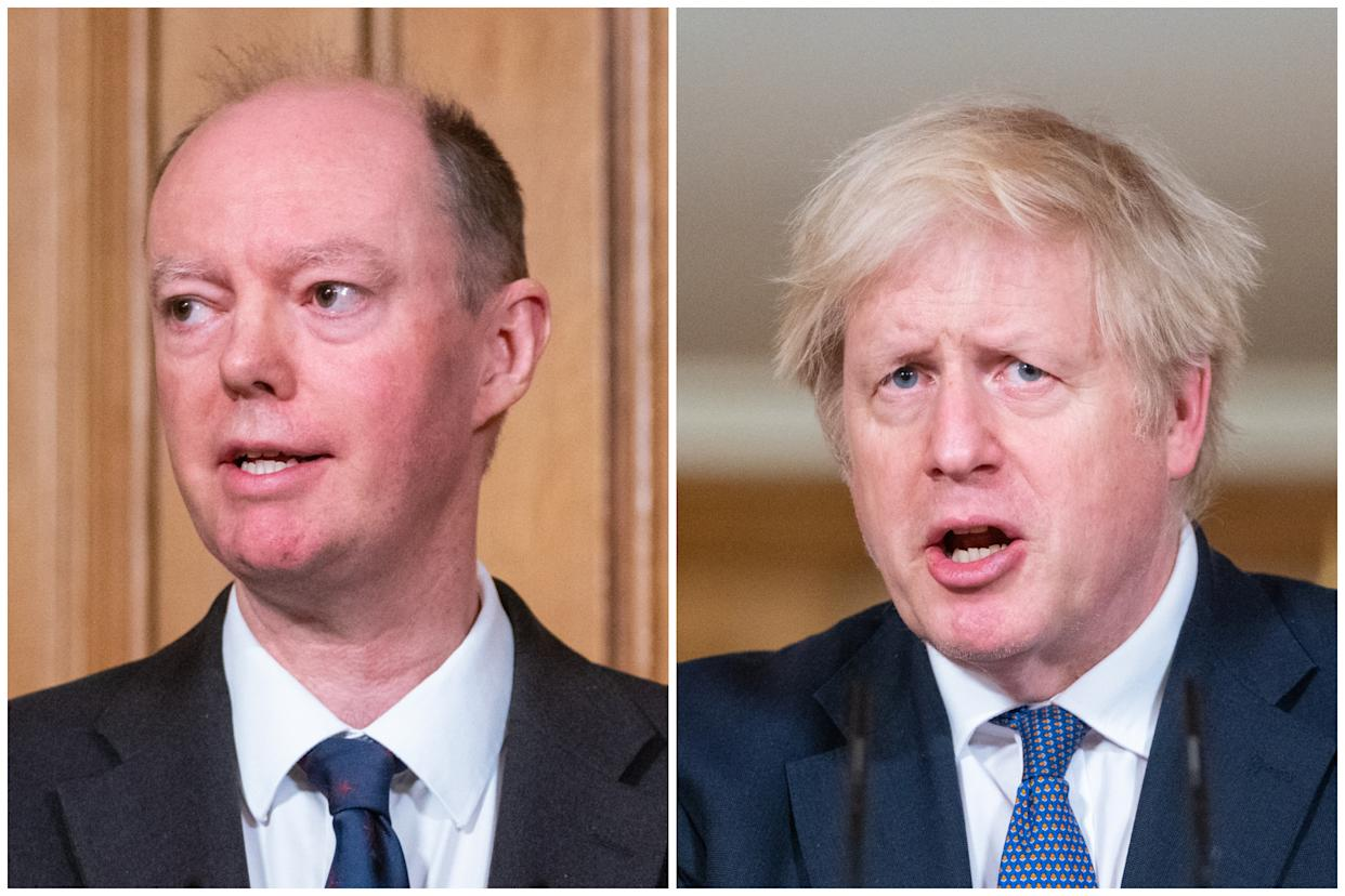 Prof Chris Whitty called out Boris Johnson for misquoting him at Friday's Downing Street press conference. (PA)