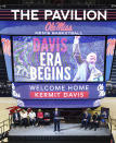 Kermit Davis Jr., center, is introduced as Mississippi's new men's basketball coach in Oxford, Miss., Monday, March 19, 2018. (Bruce Newman, Oxford Eagle via AP)