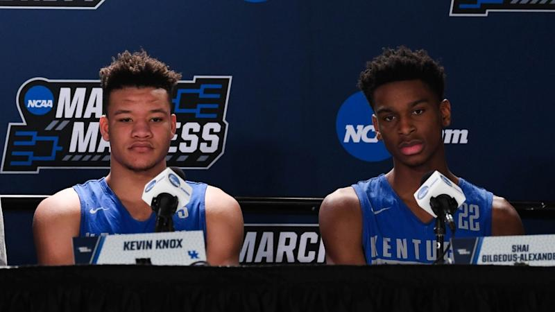 Kevin Knox and Shai Gilgeous-Alexander talk during Kentucky press conference