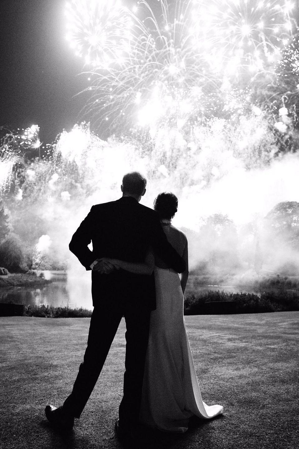 <p>The Duke and Duchess of Sussex surprised fans, when they used a new photograph from their wedding reception at Frogmore House for their 2018 Christmas card.</p>