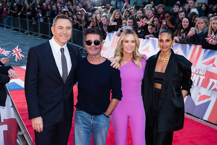 David Walliams, Simon Cowell, Amanda Holden and Alesha Dixon attend the Britain's Got Talent 2020 photocall at London Palladium on January 19, 2020 in London, England. (Photo by Jeff Spicer/WireImage)