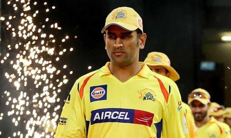 MS Dhoni leads his side onto the field