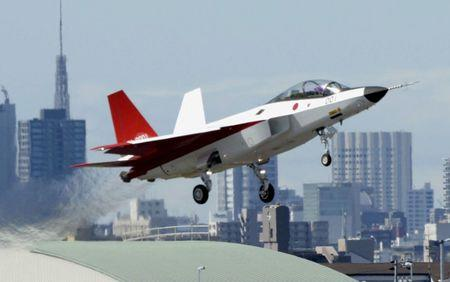 FILE PHOTO: Prototype of the first Japan-made stealth fighter X-2 Shinshin takes off to mark its maiden flight in Toyoyama town