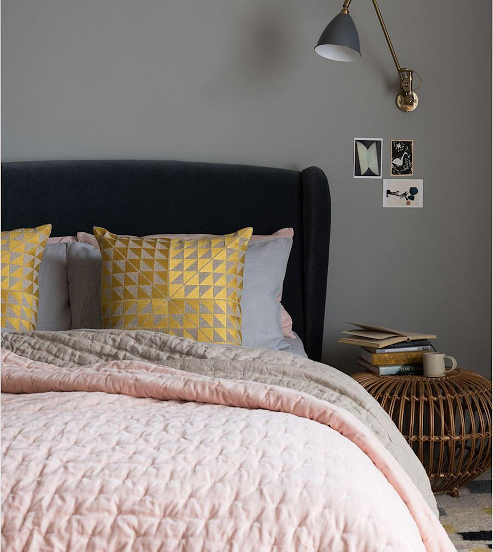 """<p>Want to style a pink and grey bedroom the grown-up way? It's all in the details. Jazz up your bed by adding a stylish throw in a muted pink. Perfect for complementing neutral tones such as grey, it will look beautiful in any space. </p><p>• Niki throw, £220 at <a href=""""https://go.redirectingat.com?id=127X1599956&url=https%3A%2F%2Fwww.swooneditions.com%2Fniki-jones-velvet-linen-56b466&sref=https%3A%2F%2Fwww.housebeautiful.com%2Fuk%2Fdecorate%2Fbedroom%2Fg37103497%2Fpink-grey-bedroom%2F"""" rel=""""nofollow noopener"""" target=""""_blank"""" data-ylk=""""slk:Swoon"""" class=""""link rapid-noclick-resp"""">Swoon</a> </p>"""