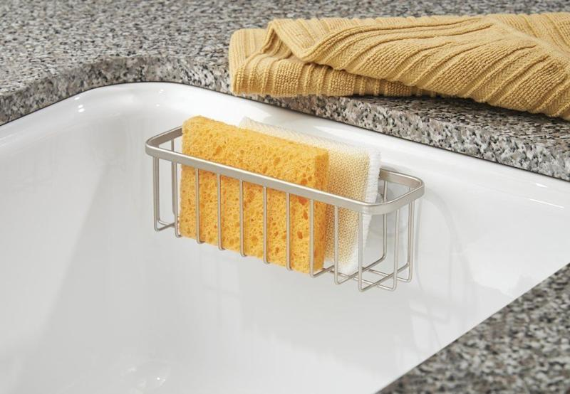 "Keep your sponges clean and within reach by using <a href=""https://www.amazon.com/dp/B01LX78TBR"" target=""_blank"">this suctioned holder</a> on the side of your sink."