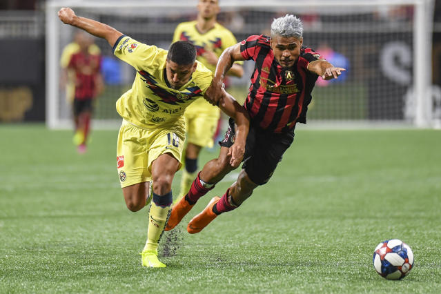 Club America defender Bruno Valdez (left) battles Atlanta United forward Josef Martinez during the second half of Wednesday's Campeones Cup. Atlanta won the match 3-2. (Dale Zanine/USA Today)