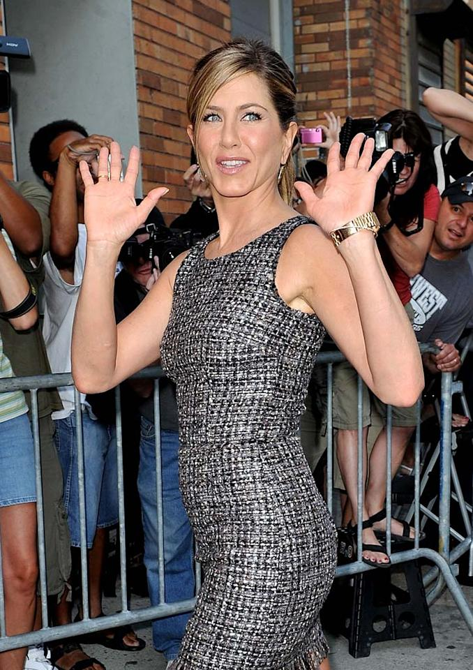 "And the hits just keep on coming! It was revealed this week that Jennifer Aniston was one of many celebrity clients who had been ripped off in a credit card fraud scam at a Beverly Hills hair salon. ""The Switch"" star also came under fire for using the word ""retard"" during her Thursday visit to ""Live With Regis & Kelly."" James Devaney/<a href=""http://www.wireimage.com"" target=""new"">WireImage.com</a> - August 19, 2010"
