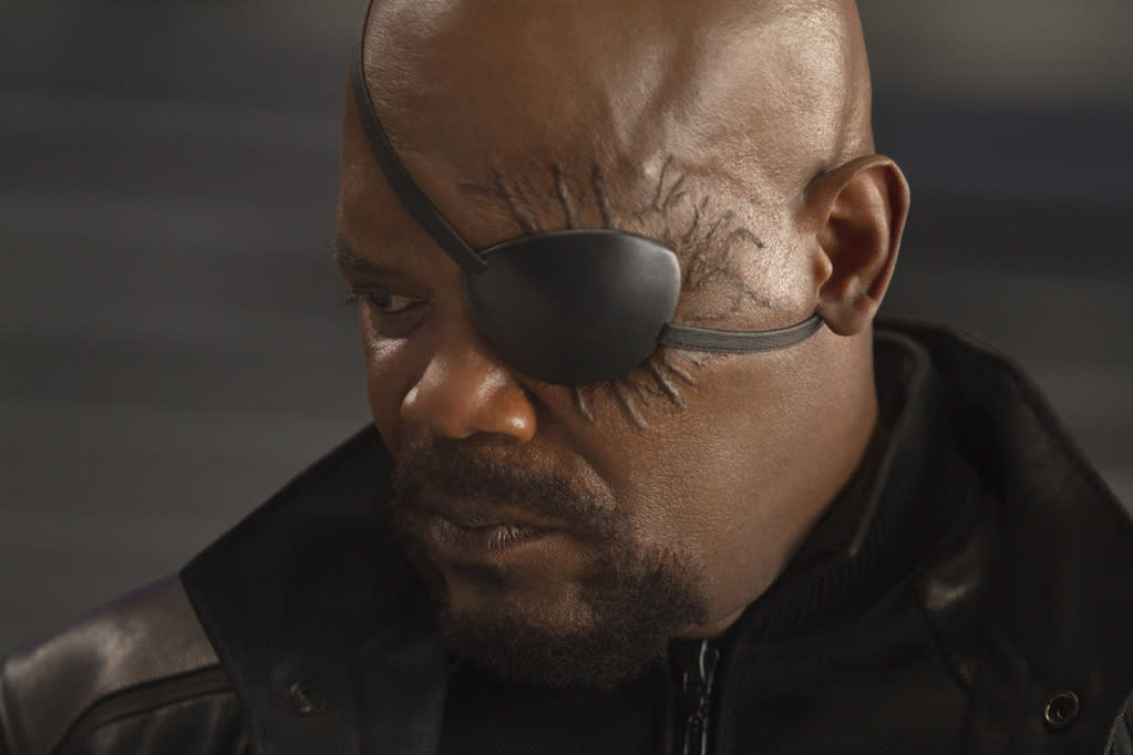 """Samuel L. Jackson as Nick Fury in Marvel's <a href=""""http://movies.yahoo.com/movie/the-avengers-2012/"""">The Avengers</a> - 2012"""