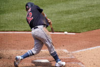 Cleveland Indians' Josh Naylor singles off Pittsburgh Pirates relief pitcher Chasen Shreve, driving in a run, during the seventh inning of a baseball game in Pittsburgh, Sunday, June 20, 2021. (AP Photo/Gene J. Puskar)