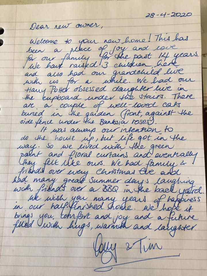 The letter left for the new owners of the Melbourne home, detailing the happy memories the old owners had living there.