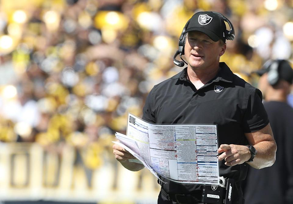 Jon Gruden on the sideline during a game in September.