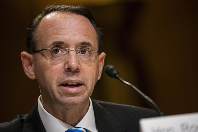 """The president accused Rosenstein of having conflicts of interest and said he was disappointed to learnthat Rosenstein had worked as a federal prosecutor inBaltimore. """"There are very few Republicans in Baltimore, if any,"""" Trump said."""