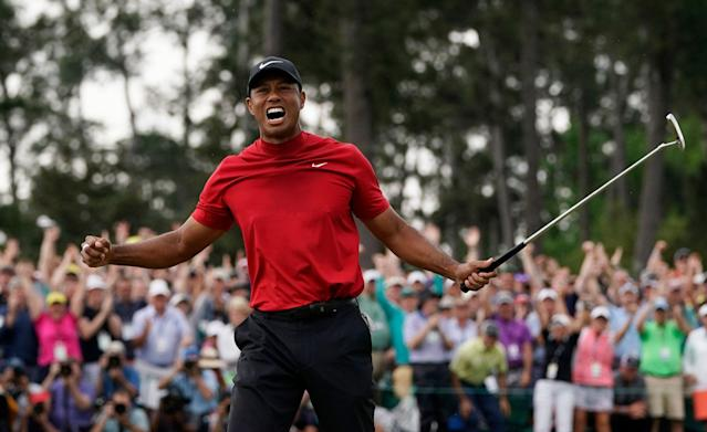 """<a class=""""link rapid-noclick-resp"""" href=""""/pga/players/147/"""" data-ylk=""""slk:Tiger Woods"""">Tiger Woods</a> had an epic response when asked about the person who bet $85,000 on him to win the Masters. (AP Photo/David J. Phillip)"""