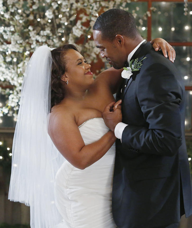 The wedding of Miranda Bailey (Chandra Wilson) and Ben Warren (Jason George) on ?Grey?s Anatomy? (2013).