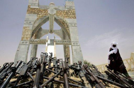 "Timbuktu's ""Flame of Peace"" monument, built in 1995 with the weapons of the Tuareg rebellion. A new group of about 500 men who do not want to see northern Mali secede has taken over the city"