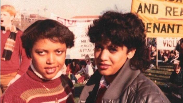 Kamala Harris, right, protests South African apartheid with classmate Gwen Whitfield on the National Mall in 1982. (Courtesy of Kamala Harris)