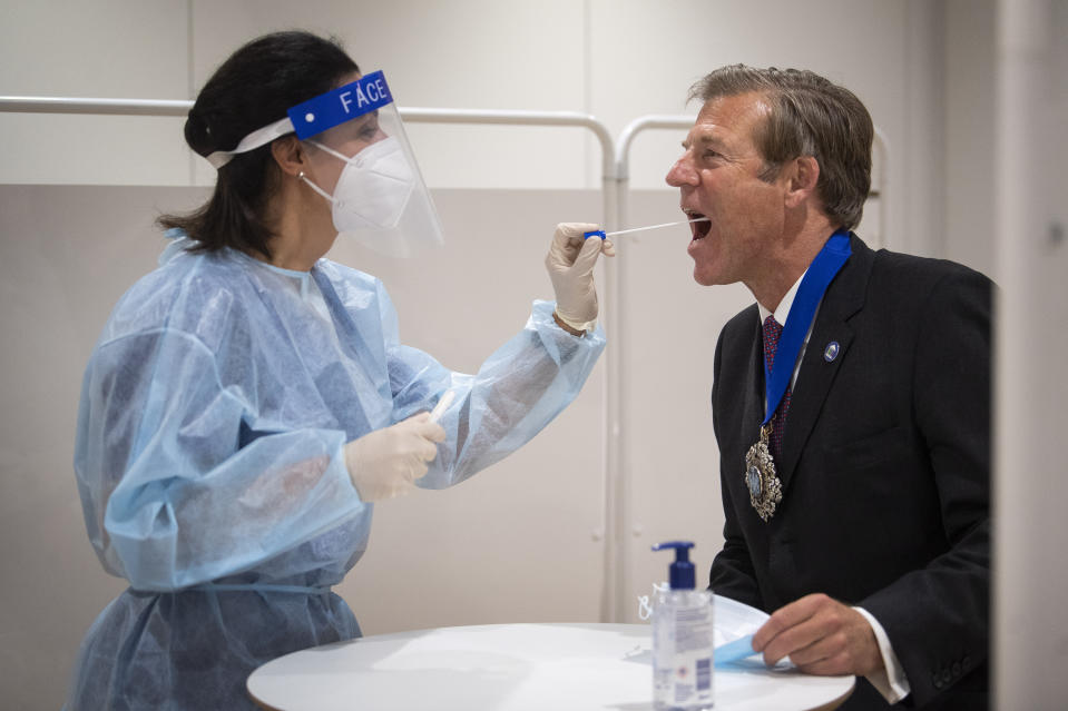 Lord Mayor of London William Russell is tested for coronavirus alongside staff from Legal and General ahead of returning to their Head Office in London.