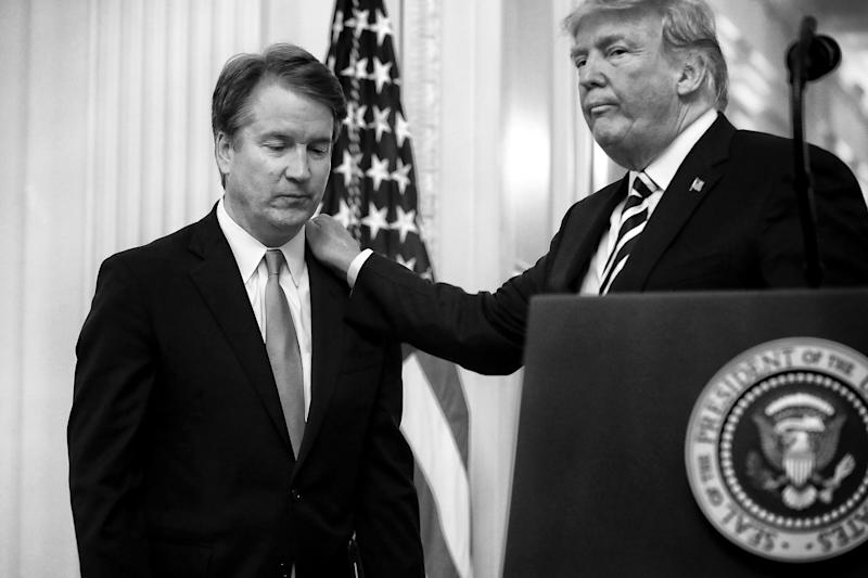 President Trump and Supreme Court Justice Brett Kavanaugh during Kavanaugh's ceremonial swearing in at the White House in 2018. (Photo: Chip Somodevilla/Getty Images)