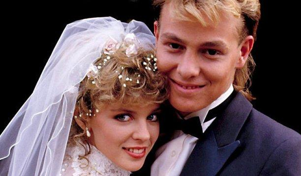 Kylie Minogue and Jason Donovan as Charlene and Scott Robinson (Credit: Neighbours/Grundy Television)