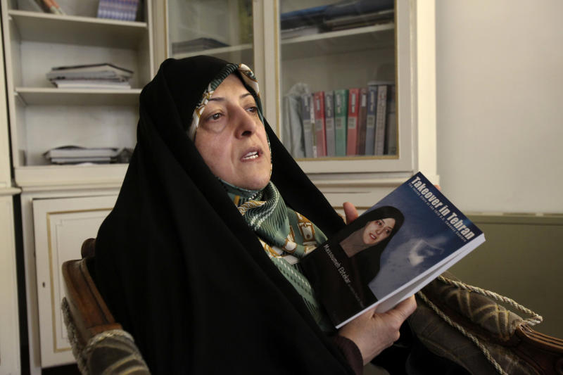FILE -- In this Thursday, Feb. 14, 2013 file photo, Tehran City Council member Masoomeh Ebtekar, who was one of the students who occupied the U.S. Embassy in 1979 and acted as the Iranian students' spokeswoman, speaks in an interview with The Associated Press, in Tehran, Iran. Iran's official IRNA news agency is reporting President Hasan Rouhani has appointed Masoomeh Ebtekar as vice-president in charge of environment affairs. (AP Photo/Vahid Salemi, File)