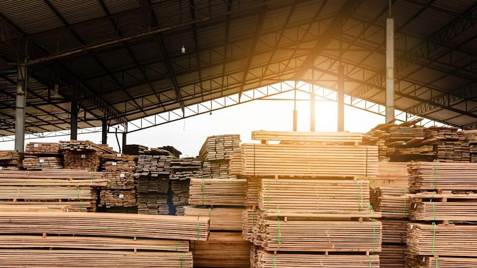 Factory stock of lumber and plank of wood with nature enterprises export.