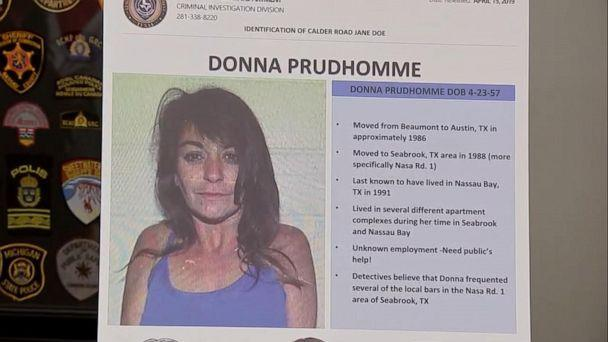PHOTO: Investigators in Texas identified a body found on an oil field nera Calder Road in League City on Sept. 8, 1991 as Donna Prudhomme, who was believed to be about 34 years old at the time of her death. (KTRK)