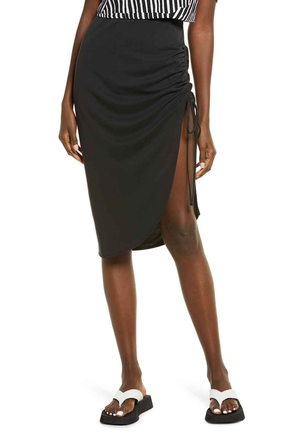 <p>This <span>Open Edit Side Ruched Skirt</span> ($45) will look great with a square-neck top and some low-heeled sandals.</p>