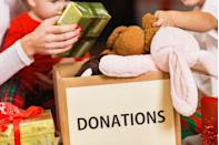 """<p>Pay your blessings forward by donating to a local toy drive, so less fortunate kids can also have a merry Christmas. Cleaning out the play room or bedrooms also makes more room for new toys to be fully appreciated. Many churches and community centers hold toy drives around the holidays, but <a href=""""https://www.toysfortots.org/donate/toys.aspx"""" rel=""""nofollow noopener"""" target=""""_blank"""" data-ylk=""""slk:Toys for Tots"""" class=""""link rapid-noclick-resp"""">Toys for Tots</a> is a good national option, too. </p>"""