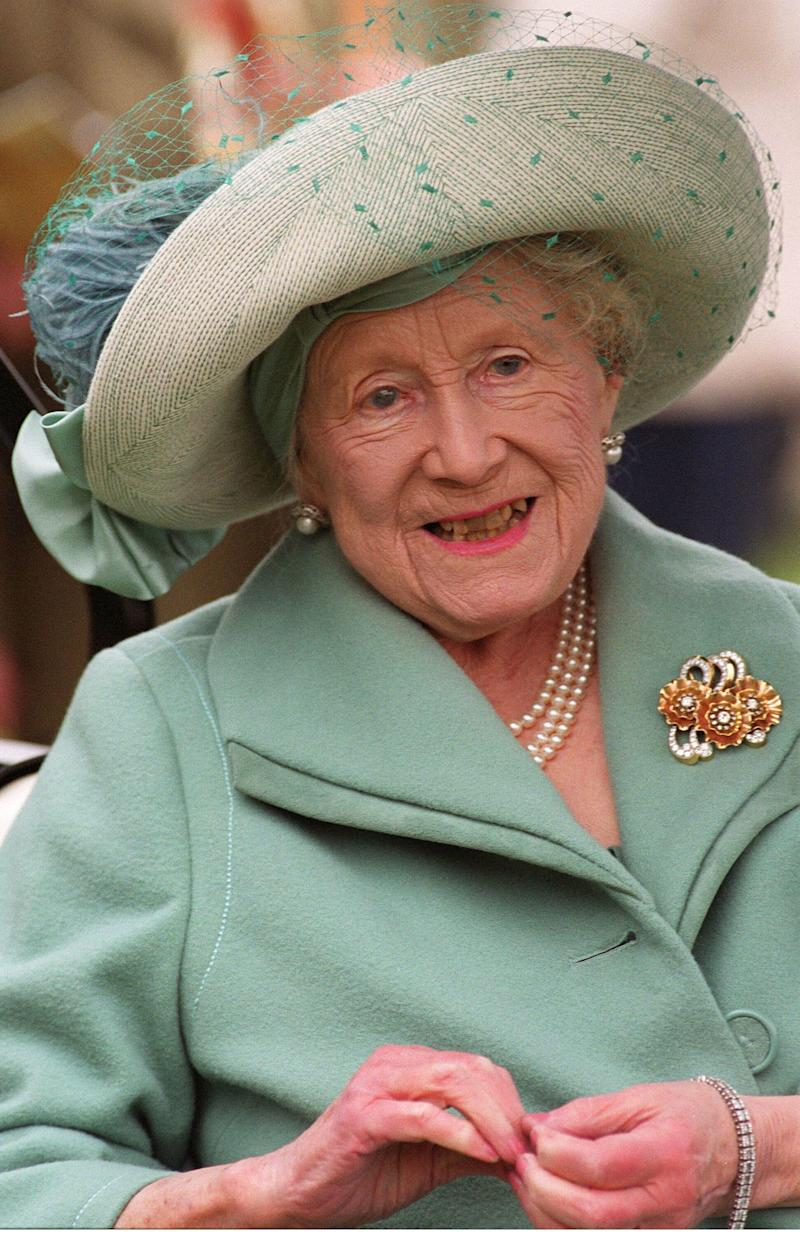 The Queen Mother at the Cheltenham Gold Cup on March 16, 2002 (Photo by Anwar Hussein/WireImage)