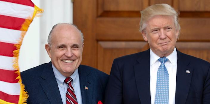 Giuliani and Trump at the Trump National Golf Club Bedminster clubhouse in New Jersey in November 2016.