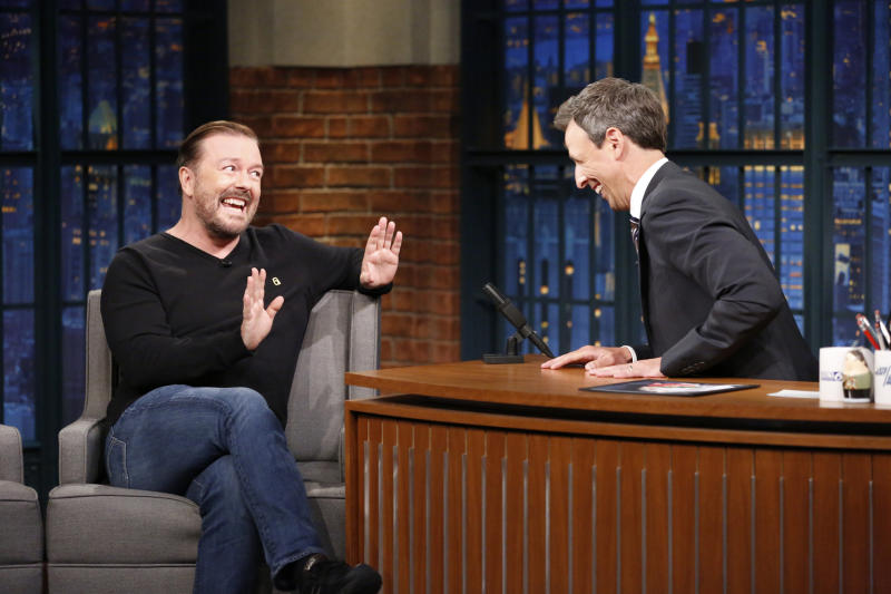 LATE NIGHT WITH SETH MEYERS -- Episode 554 -- Pictured: (l-r) Actor/comedian Ricky Gervais talks with host Seth Meyers during an interview on July 19, 2017 -- (Photo by: Lloyd Bishop/NBC/NBCU Photo Bank via Getty Images)