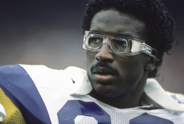 UNSPECIFIED - CIRCA 1986:  Eric Dickerson #29 of the Los Angeles Rams looks on during an NFL football game circa 1986. Dickerson played for the Rams from 1983-87 (Photo by Focus on Sport/Getty Images)