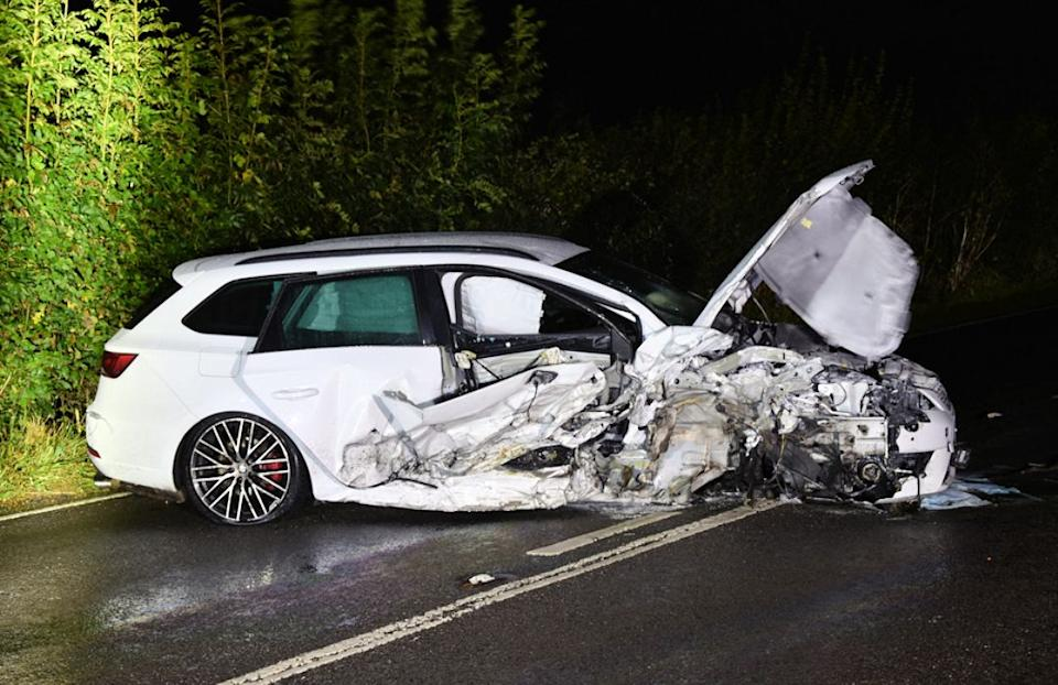 Leon Karaloucas's car after the crash in East Sussex. (SWNS)