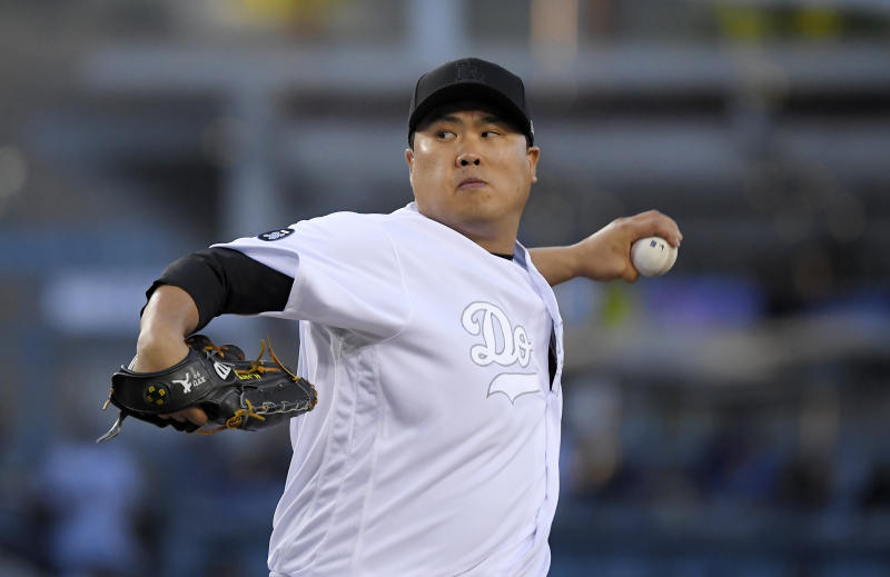 Los Angeles Dodgers starting pitcher Hyun-Jin Ryu, of South Korea, throws during the first inning of the team's baseball game against the New York Yankees on Friday, Aug. 23, 2019, in Los Angeles. (AP Photo/Mark J. Terrill)
