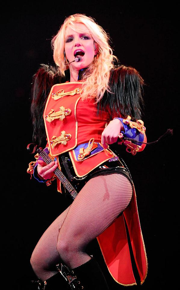 "Perhaps Britney was attempting to distract fans from noticing her inexistent singing skills by donning yet another disastrous costume for the opening night of her ""Circus"" concert extravaganza. Kevin Mazur/<a href=""http://www.wireimage.com"" target=""new"">WireImage.com</a> - March 3, 2009"