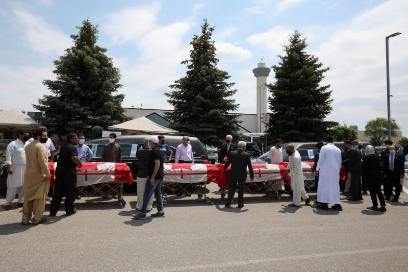 Funeral of the Afzaal family that was killed in what police describe as a hate-motivated attack, in London