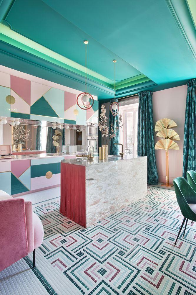 <p>The work of interior designer Patricia Bustos, this flamboyant space uses a melting pot of materials, from metallics and marble to tassels and luxe textiles. A tight colour palette of pink and green keeps the space feeling harmonious, while painting the ceiling in a dark shade fosters a cosy ambience.</p>