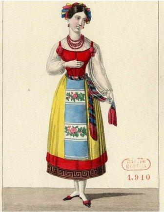Costume design for the opera La muette de Portici by Daniel Auber, 1828
