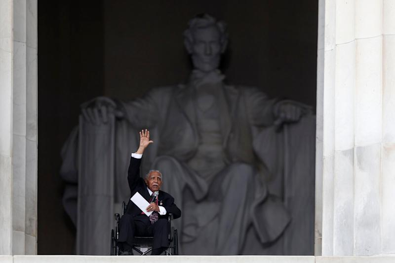 Rev. Joseph Lowery, former president of the Southern Christian Leadership Conference, speaks at the 50th Anniversary of the March on Washington where Martin Luther King Jr., spoke, Wednesday, Aug. 28, 2013, at the Lincoln Memorial in Washington. (AP Photo/Charles Dharapak)