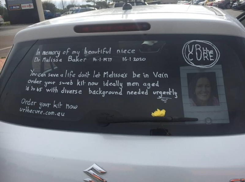 Pictured is the tribute to Melissa on the back of her uncle's car.