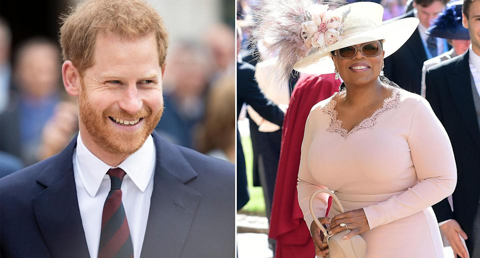 Harry and Oprah Winfrey (pictured at the royal wedding) are working on a mental health series [Photos: Getty]