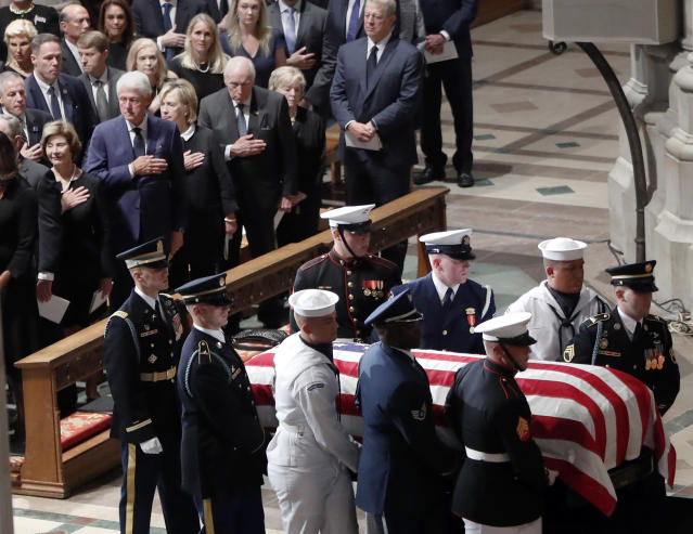 """<span class=""""s1"""">At Washington National Cathedral, former presidents pay homage as John McCain takes his place in history. (Photo: Pablo Martinez Monsivais/AP)</span>"""